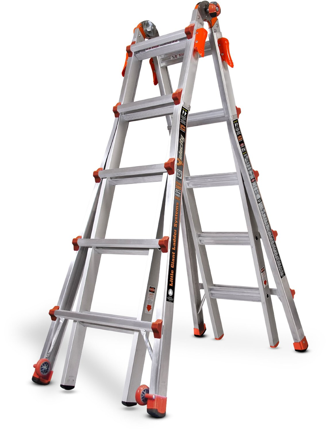 Innovations from Little Giant include a foot ladder that does the job of 18 different types of ladders. This is achieved by having several sizes of the same shape, such as an A-frame ladder, staircase ladder, degree ladder, extension ladder, and scaffolding. Best of all, many Little Giant ladders come installed with wheels so you can move them around with ease to accommodate just about any task.